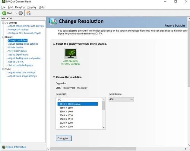 Configure screen resolution