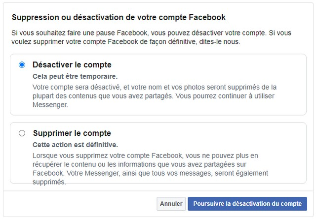 Deactivation of your Facebook account