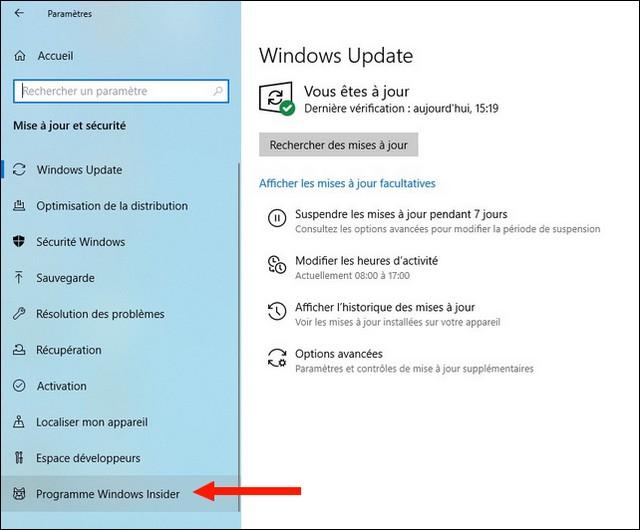Cliquer sur Programme Windows Insider