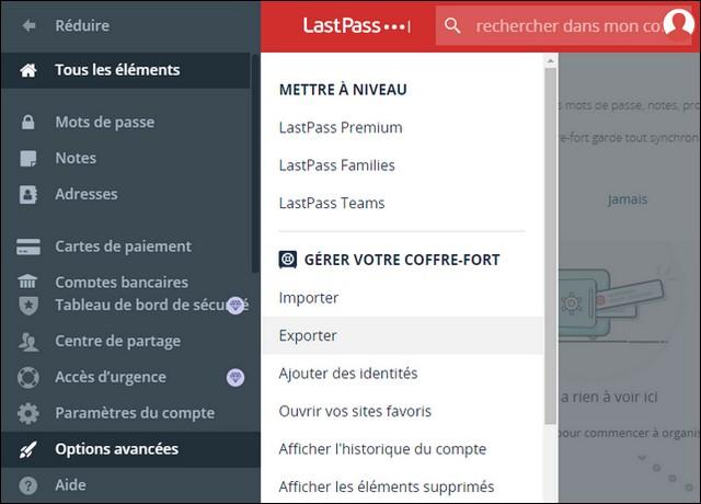 Comment exporter vos données LastPass à partir du site Web