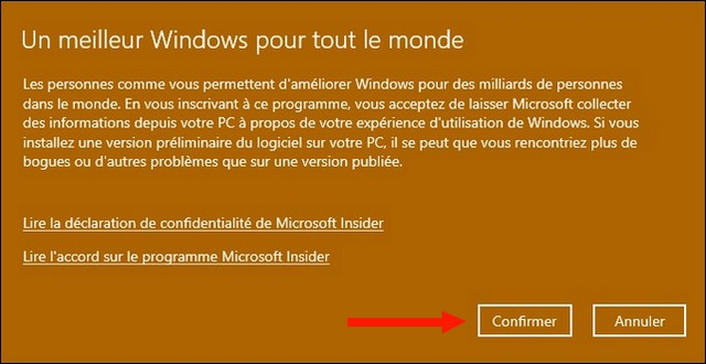 Conditions du Programme Windows Insider