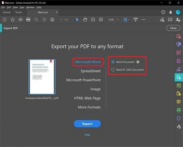 Convertir un PDF au format Word