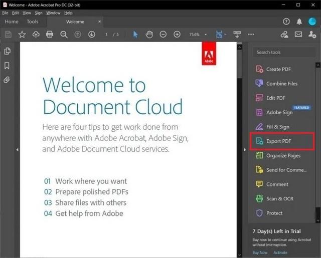 Convertir un fichier PDF au format Word à l'aide d'Acrobat