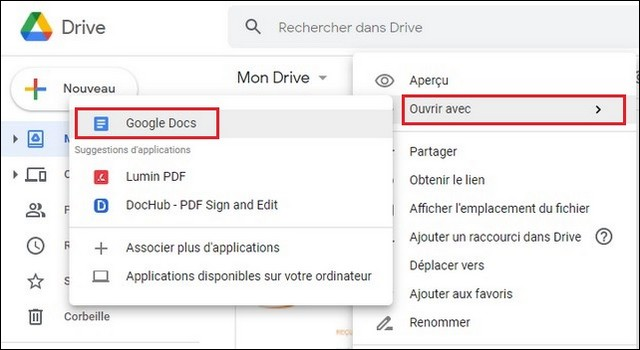 Convertir un fichier PDF au format Word à l'aidede Google Docs