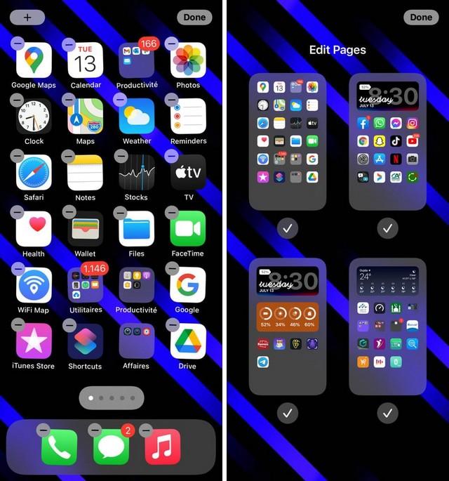 Masquer une page d'applications sur l'écran d'accueil de votre iPhone