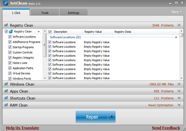JetClean - best registry cleaner