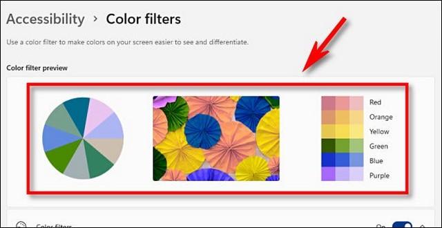 Aperçu du filtre de couleur