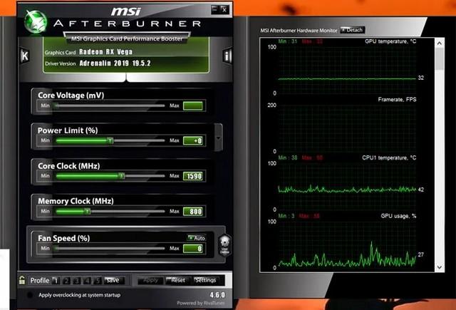 MSI Afterburner - vérifier la température du processeur