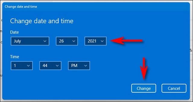 Modifier la date et l'heure