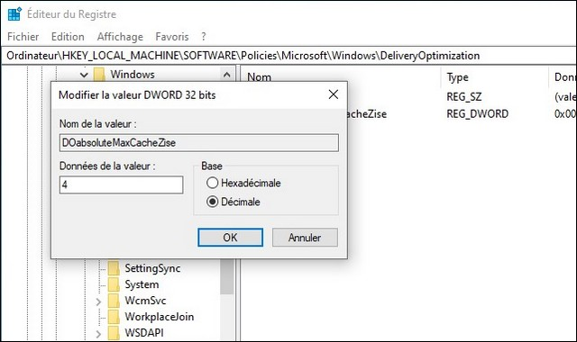 cache optimisation de la distribution dans Windows 10