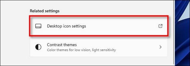 Cliquer sur Paramètres des icônes du bureau