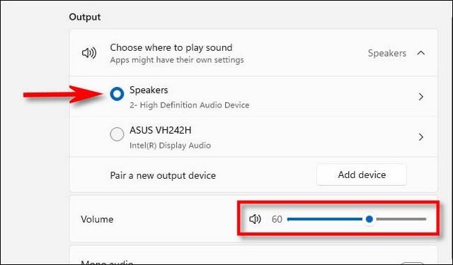 Modifier le volume du système dans les paramètres Windows