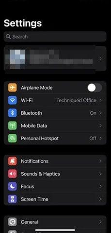 Ouvrer l'application Paramètres sur votre iPhone