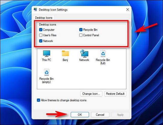 Paramètres des icônes du bureau Windows 11