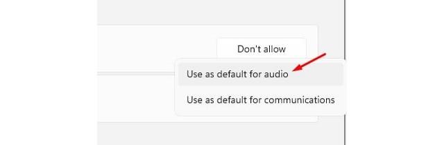 Utiliser par défaut pour l'audio