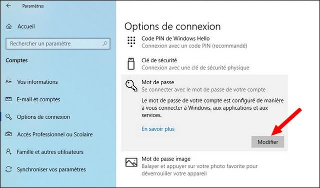 Comment changer mot de passe windows 10